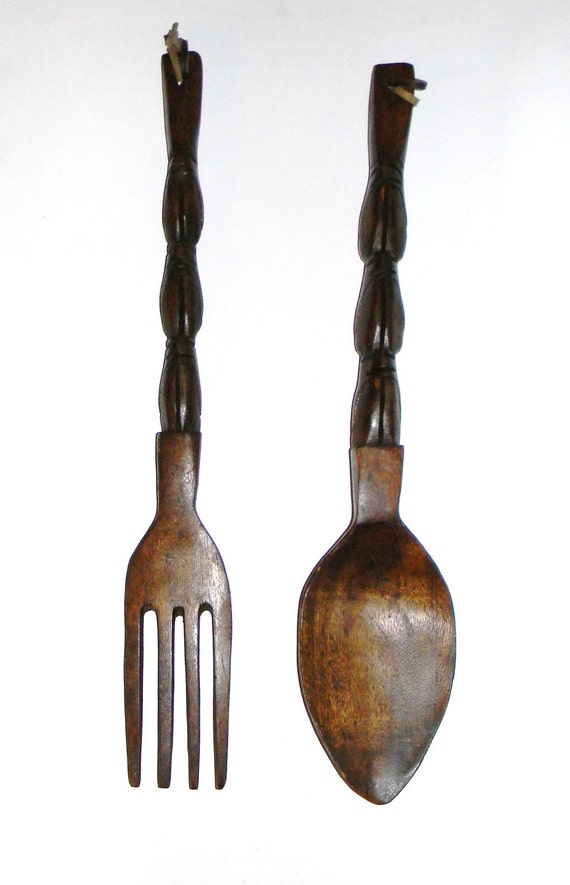 Sale Sale Sale Vintage Kitch Wooden Fork And Spoon 70 39 S