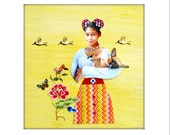 dog collage chihuahua girl yellow tagt team pet portrait home decor funky shabby chic chicago dog art