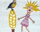 collage singing bird girlpet