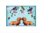 dog dachshund pet portrait photocollage photography stylish home decor tagt team blue shabby chic custom art pets
