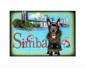 custom brown dog collage blue urban new york brooklyn bridge  mothers day gift pet portrait tagt team art