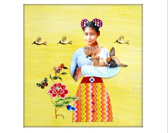 dog collage chihuahua girl yellow pet