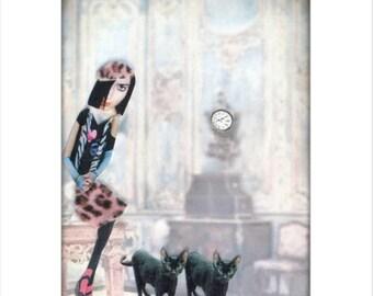 black cat, leopard print, pet art, animal art, shabby chic home decor, pink leopard, cat woman, pet collage, tagt team
