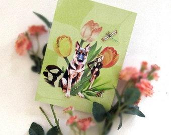 dog portrait,  german shepherd, animal art, photocollage, brown, green, garden, tulips, marlena dietrich, home decor, shabby chic, pet art