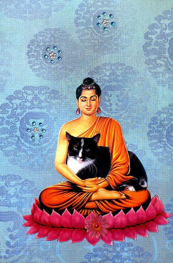 good karma cat collage buddha custom blue fantasy pet portrait home decor custom shabby chic tagt team art
