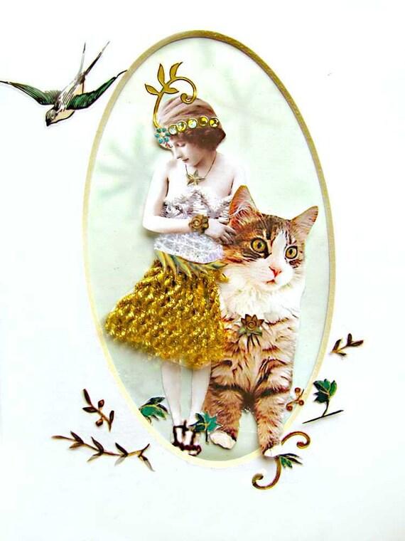 cat collage girl woman green shabby chic home decor feminine lovely bedroom bathroom pet oval tagt team art pet