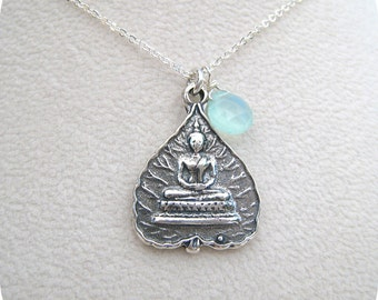 Silver Lotus Buddha with Chalcedony - Pendant Necklace