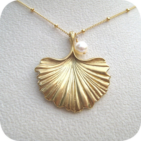 Pearled Golden Ginkgo Pendant Necklace