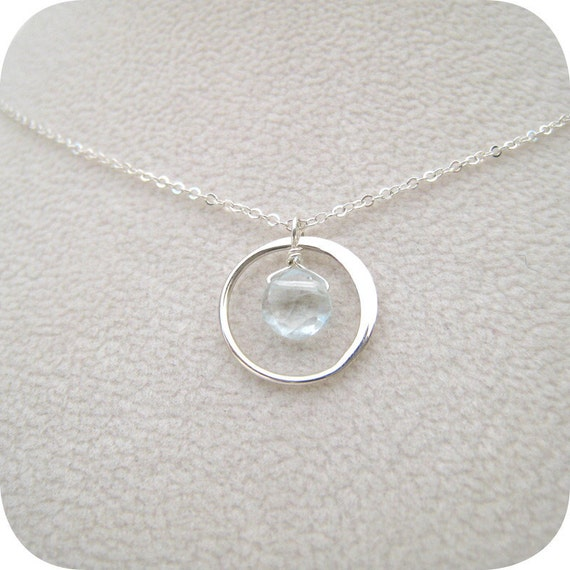 Sterling Silver Infinity Circle with Aquamarine - Pendant Necklace