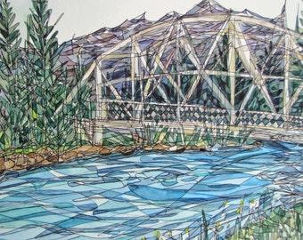 Travel Watercolor Bow River, Banff Canada Giclee Print Renee Leone Studio