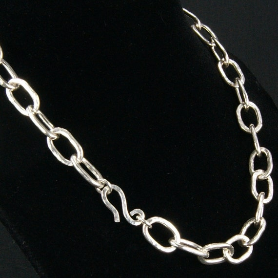 Silver Chain Necklace Oval hammered links (Handmade)