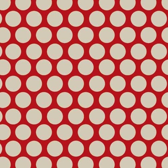 Adornit Vintage Groove Polka Dot RED fabric by the yard
