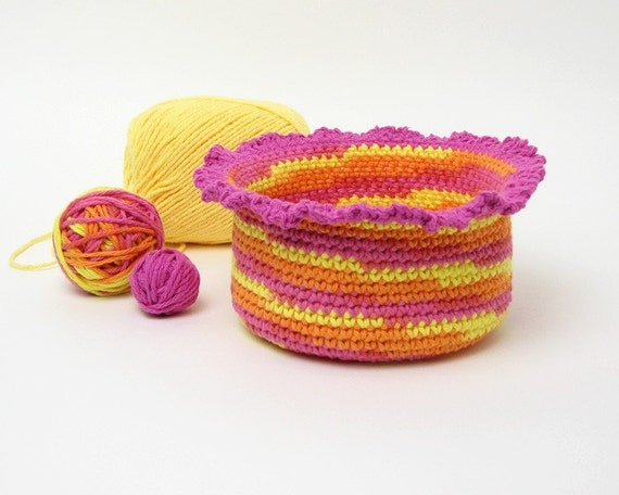 Crocheted Basket, hot pink, orange, yellow, ruffled edge, organizer, home organization container