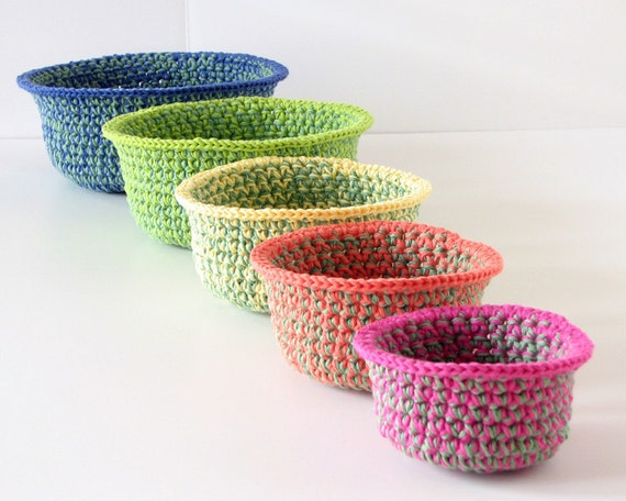 Crochet Baskets Nested Set of Five Organizers, Pink, Orange, Yellow, Lime Green, Blue, home organization