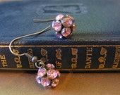 Cottage Rose Crystal Ball Earrings