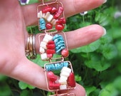 Red White and Turquoise Link bracelet
