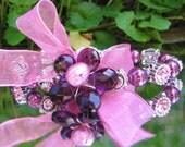 Sweet Violet Crystal and Pearl Bracelet