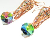 Copper wire wrapped Vintage Vitrail Crystal Earrings