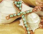 SeaFoam Pearl Cross Necklace