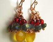 Golden Glow Chalcedony and Labradorite Earrings