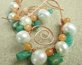 Amazonite Pearl and Aventurine Swirl Earrings