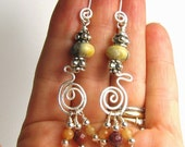 Twisty Tribal Jasper earrings on silver