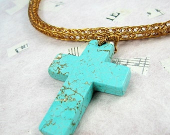 Bronzed Turquoise Viking Knit necklace with Cross  semi precious gemstone cross necklaces