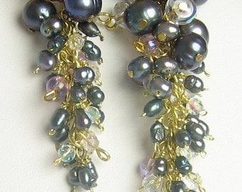 Black Pearl Cascade Earrings - Drama Queen Black Pearl Cascade Earrings