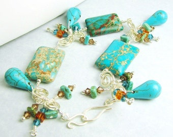 Serpentine Turquoise Charm Bracelet