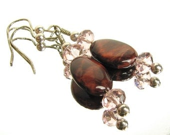 Tiger Eye and Sterling Earrings