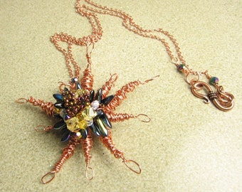 Wire Wrapped Artisan Necklace - Mystic Starburst
