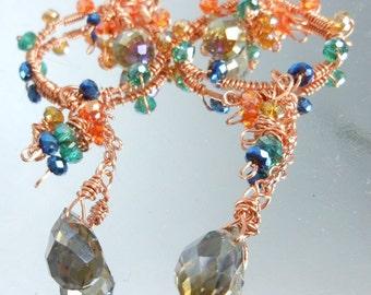 Stormy Boho Crystal Wire Wrapped Dangle Earrings