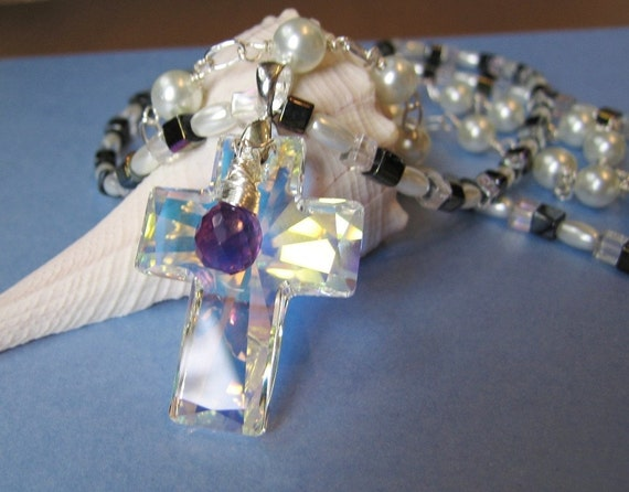 Crystal Cross with Amethyst and Pearls  Necklace Pendant  semi precious gemstone cross necklaces