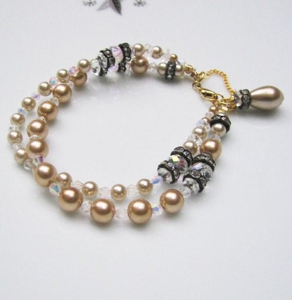 Champagne Pearls Vintage style bracelet