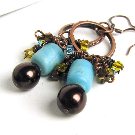 Turquoise Czech glass and Chocolate Pearls Earrings