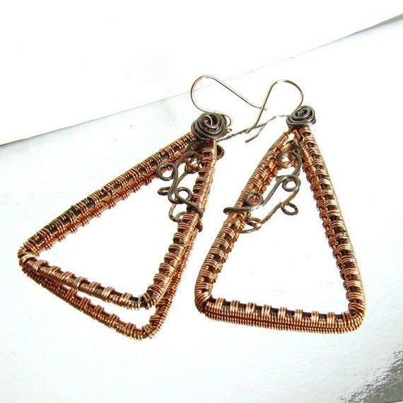 Garden Trellis Earrings Copper Wire Wrapped Hand Crafted