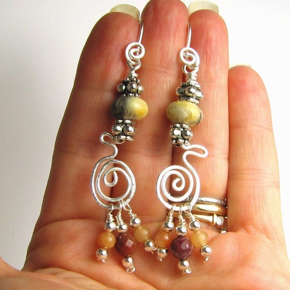Twisty Tribal Jasper earrings on silver