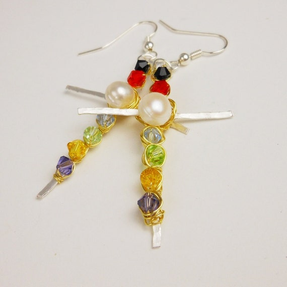Silver Cross Earrings-  Wire wrapped and Beaded