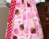 Birthday Girl Pillowcase dress Cupcakes Michael Miller Polka Dot Pink, Red, white, brown 3 6 9  12 mos, 18 mos, 24 mos, 2t, 3t, 4t