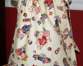 SALE 13.50 patriotic Pillowcase dress teddy bears 4th of July patriotic red creamy white blue memorial day