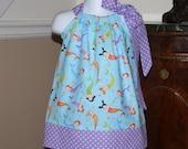 SALE baby toddler Pillowcase Dress WAS 21.99 NOW 15.00 Mermaids in turquoise blue green orange purple white polka dot 0-3t