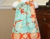 toddler girl Pillowcase Dress for easter joel dewberry aviary blue orange baby easter dresses by blakeandbailey