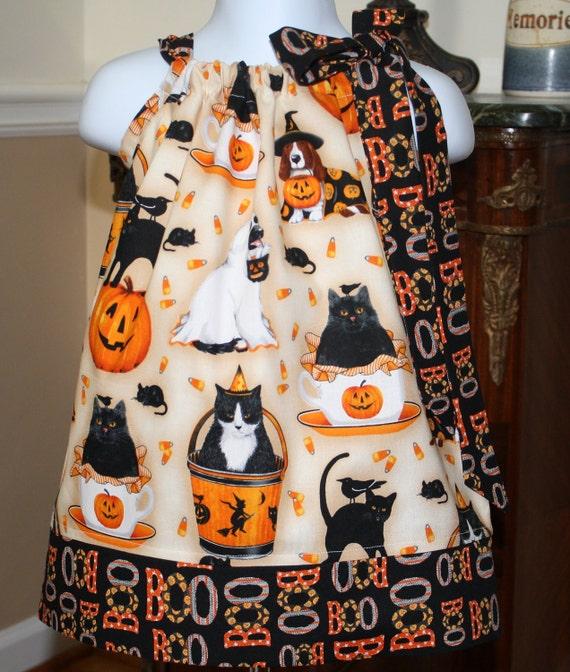 SALE Pillowcase dress girls halloween ghost dogs cats pumpkins fall autumn harvest 2t, 3t, 4t, 5t, sale