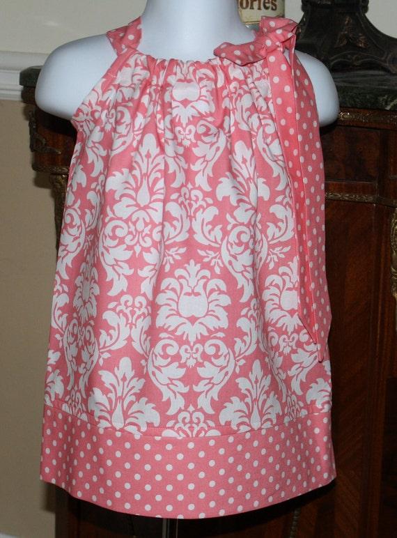 damask girls Pillowcase Dress damask Michael Miller baby toddler pink white polka dot