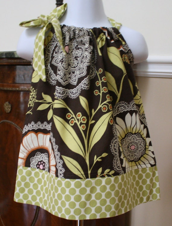 CUSTOM LISTING for lauraluv  Amy Butler Pillowcase dress lotus in olive 3, 6, 9, 12, 18, 24, mos, 2t, 3t, 4t, 5t  byBlake and Bailey