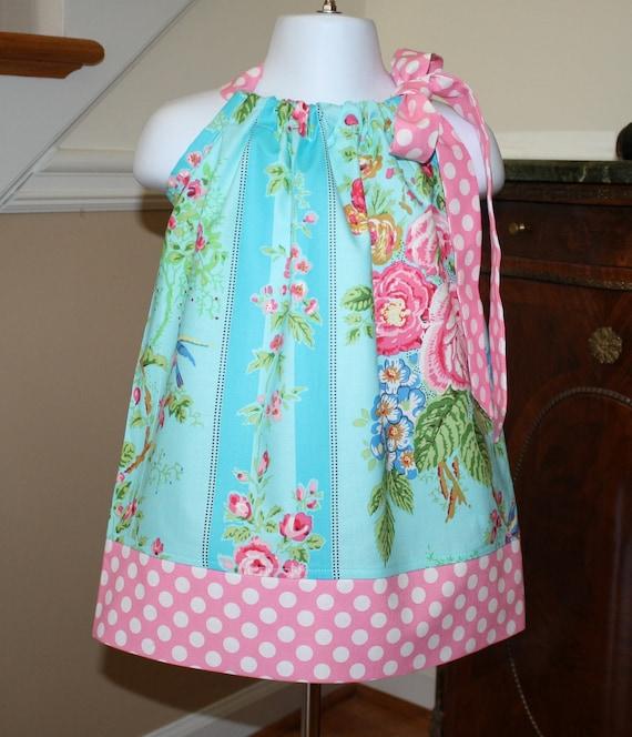 blue bird Pillowcase dress READY TO SHIP size 12 mos. jennifer paganelli fabric baby toddler girls dresses pink polka dot