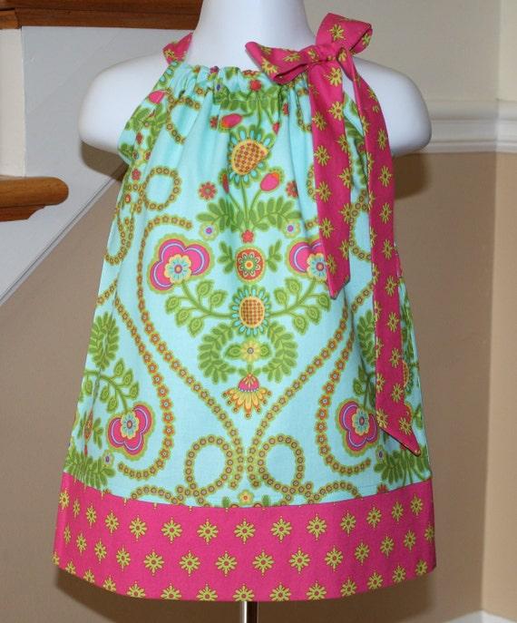 Girls Pillowcase dress pillowcase dresses dress toddler Ooh la la aqua Michael Miller 3 mos.  Thru  4T
