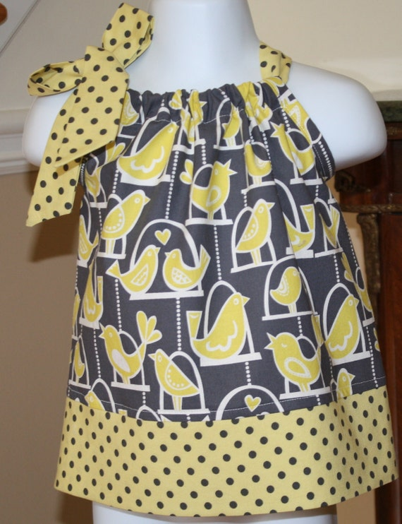 bird cage Pillowcase dress SALE WAS 19.99 NOW 15.00 gray citron yellow Michael Miller Polka Dot toddler  dress 3 to 24 mos, 2t, 3t, 4t