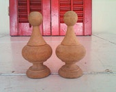 SALE. Antique Wooden Finials. Matching pair. Found in old tool box.