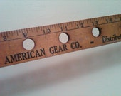 SALE. Antique Solid Wood Mechanic's Ruler. Wooden yardstick. pre-drilled holes. Upcycle into a peg rack, light fixture, picture frame.
